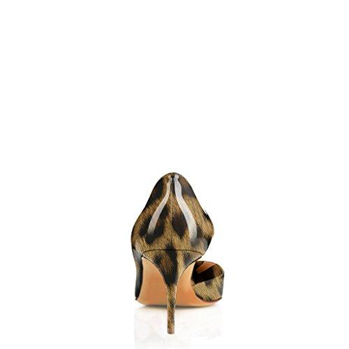 Fsj Femmes Sexy Imprimé Léopard Pompes Talons A Souligné Toe Slip De Base Sur Les Chaussures De Bureau Robe Taille 4-15 Us Léopard-7 Cm