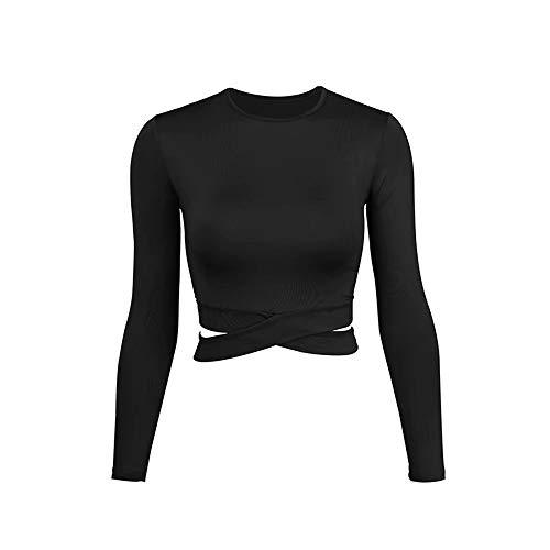 Hem Yoga Maniche A Diagonali Shirt DAMENGXIANG Lunghe Femmina Solido T Fitness Colore Breve Nero Giacca 5SqPxwI