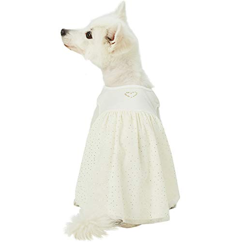 Blueberry Pet 2019 New My Little Princess Cotton Blend Dog Tulle Dress in Sweet Vanilla with Heart, Back Length 14
