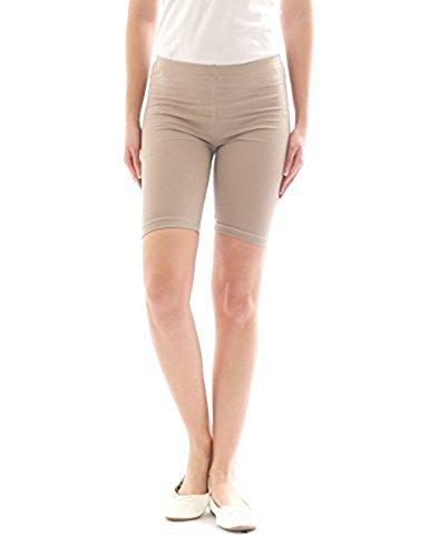 ELEGANCE1234 Women's Stretchy Cotton Lycra Above Knee Short Active Leggings (X-Large, Tan)