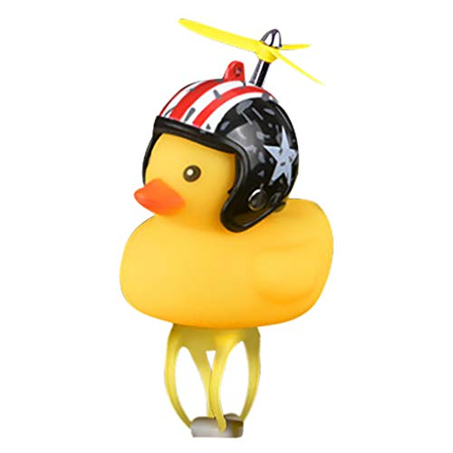 ALOVEMO Bike Horn,Cute Cartoon Yellow Little Duck Shape Bicycle Lights Bell,Squeeze Horns for Toddler Children & Adults Cycling Light Rubber Duck Helmet Toys (G)