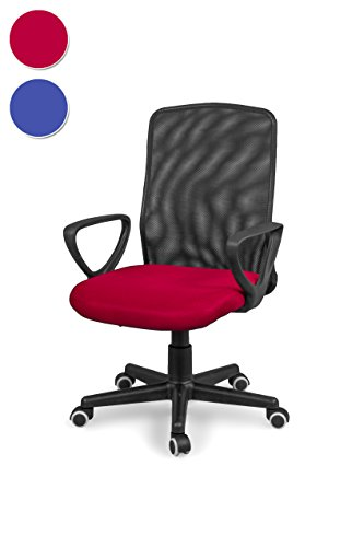Due-home Silla de Oficina, Silla para Escritorio o Estudio, Medidas: 58x88,5x55cm↗, Coco (Rojo)