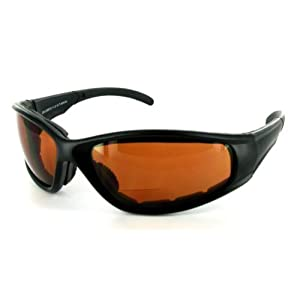 """SPORTSTER - Amber 2.50"" Bifocal Sunglasses / Safety Glasses with Non-Prescription Reading Lens. Read while you work or play in the sun!"