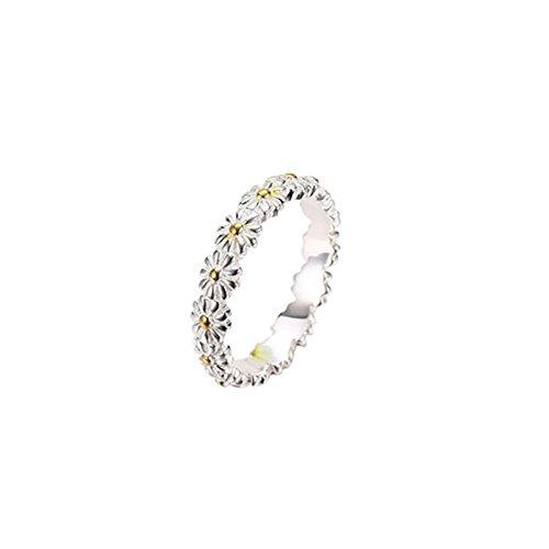 Silver Women Silver Daisy Flower Anniversary Bridal Wedding Band Ring Size 6 ()