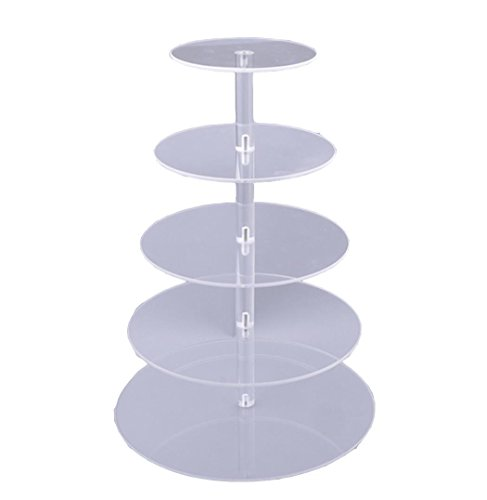 Foshin 5 Tier Cupcake Stand, Crystal Clear Acrylic Cupcake Display Stand Round Tower Cupcake Dessert Display Stand (US Stock) by Foshin (Image #6)