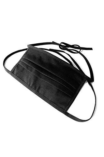 Demoniq Mund-Nasen-Schutz 2-lagig schwarz - STANDARD 100 by OEKO-TEX - waschbar - zum Binden Und Filtertasche - Community-Masken