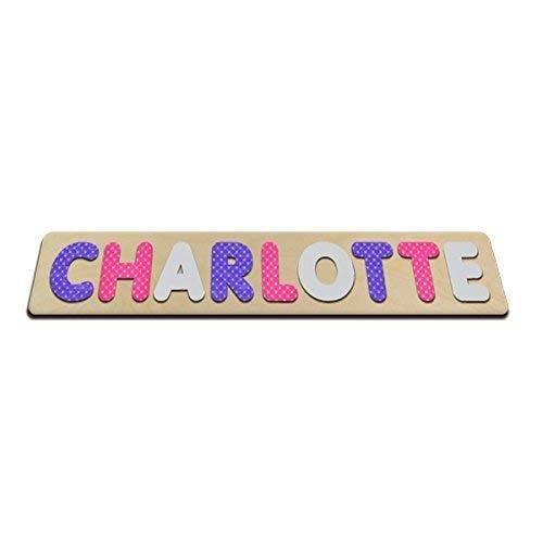 Pretty Polka-Dots Personalized Wooden Name Puzzles Child