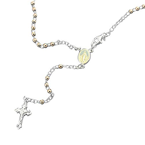 14K Rose Gold Plated Sterling Silver Rosary Necklace 2.5mm DC Bead Cross Rosary Chain (20~26 Inches), 24