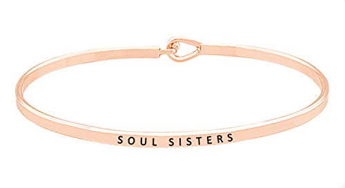 - OHBOOBA Inspirational Expandable Thin Engraved Message Soul Sisters Cuff Bangle Bracelets (Rose Gold)