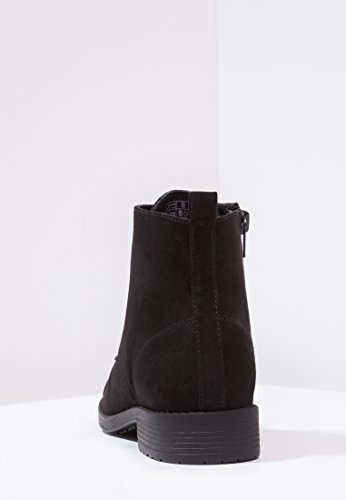 Anna Field Botas de Mujer - Botas de Cuero en Negro, Gris o Azul Oscuro - Botines con Cordones de Gamuza - Botines de Mujer Cómodos y Sin Tacón Negro