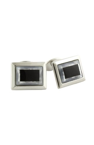 - David Donahue Sterling Silver Onyx and Mother of Pearl Cufflinks (H95500302)