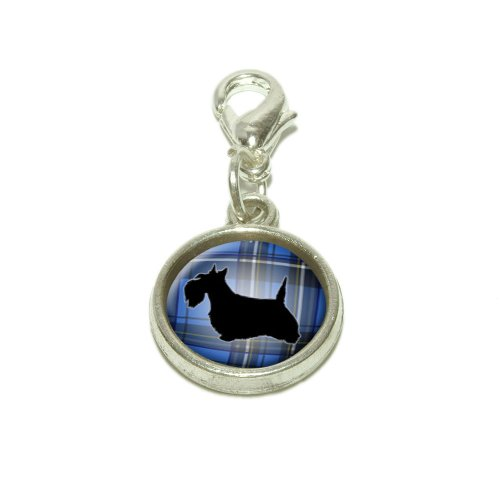 (Scottie Dog on Blue Plaid Scottish Terrier Dangling Bracelet Pendant Charm)