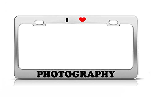 I HEART PHOTOGRAPHY School Major Metal Auto License Plate Frame Tag Holder