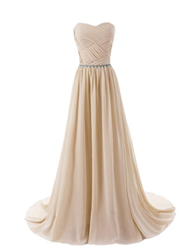 Prom Aurora Gown (Aurora Bridal Women's Long Chiffon Bridesmaid Dresses 2018 Prom Gowns Size 12 Champagne)