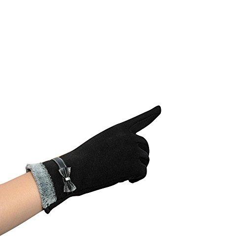 Longra Damen berühren Bildschirm Winter warm Handgelenk Handschuhe Fäustlinge (Schwarz)