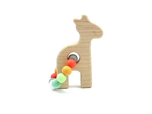Giraffe Wooden Teether w/Bannor Beads by BannorToys