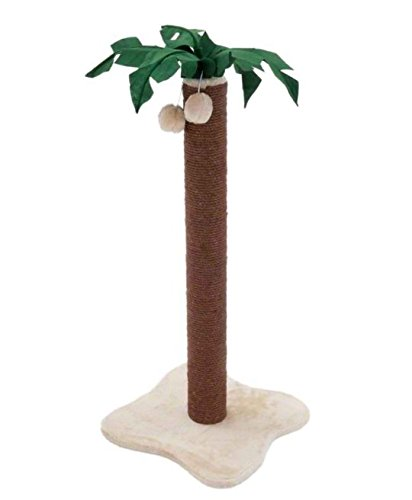 Coconut Palm Cat Scratching Post with Dark Brown Sisal Covered Trunk and Plush-Covered Base Adds A Touch of Tropical Island Atmosphere to your Home