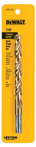DEWALT DW1328 7/16-Inch Titanium 3/8-Inch Reduced Shank Split Point Twist Drill Bit ()