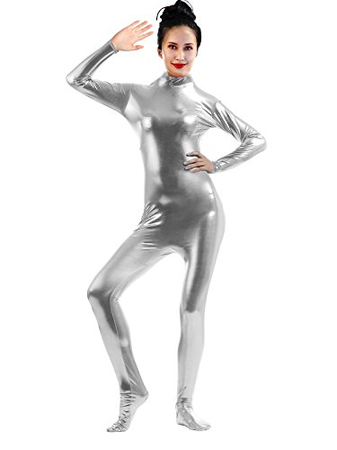 Sheface-Adults-Shiny-Metallic-Dance-Unitards-Catsuits-X-Large-Silver
