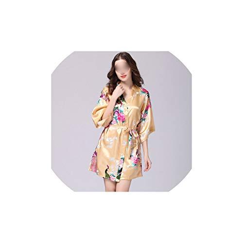Sleepwear Women Faux Silk Robe Satin Wedding Bride Robe Large Size Sexy Floral Bathrobe Short Nightwear,9,M