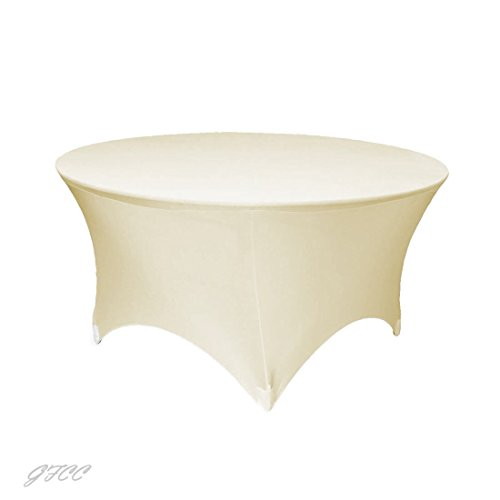 GFCC 5FT Table Ivory Round Stretch Tablecloth Spandex Fitted Stretchable Elastic Tablecloth
