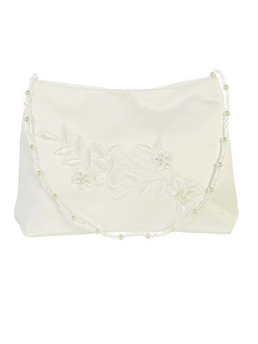 Tip Top Kids Girls Ivory Flower Embroidered Stylish Communion Purse