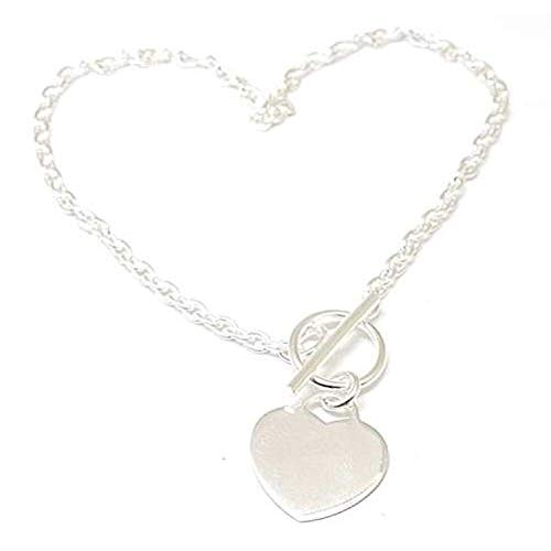 - The Olivia Collection Sterling Silver T-Bar Anklet with Heart Charm