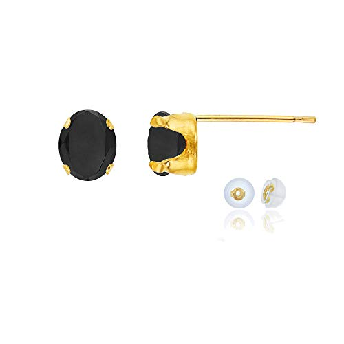 Genuine 10K Solid Yellow Gold 7x5mm Oval Black Onyx Birthstone Stud Earrings