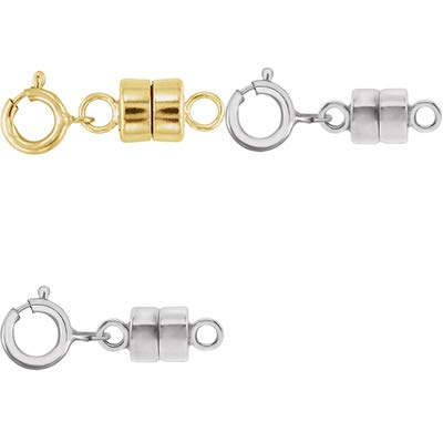 White Gold Spring Ring - 1 - Each New Solid 14k Yellow Gold and 2 - New Solid 14K White Gold Round Magnetic Clasp w/ 14K White Gold 5mm Spring Ring Clasp for Necklaces, Bracelets, and Anklets - Jewelry By Sweetpea