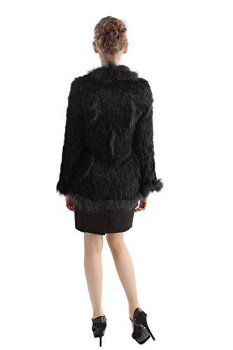 Laveur Avec En Lapin VEMOLLA Noir De Fourrure Pour Fourrure Femmes Bordure Vritable Veste Tricot En De Raton ZwHCgq