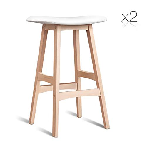 White Set of 2 Beech Wood Cafe Barstool PP Shell Seat PU Leather & Foam Reinforced Wooden Structure (Black)
