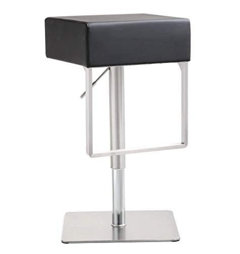 TOV Furniture The Seville Collection Modern Style Eco-Leather Upholstered Steel Base Kitchen Dining Barstool, Light Grey