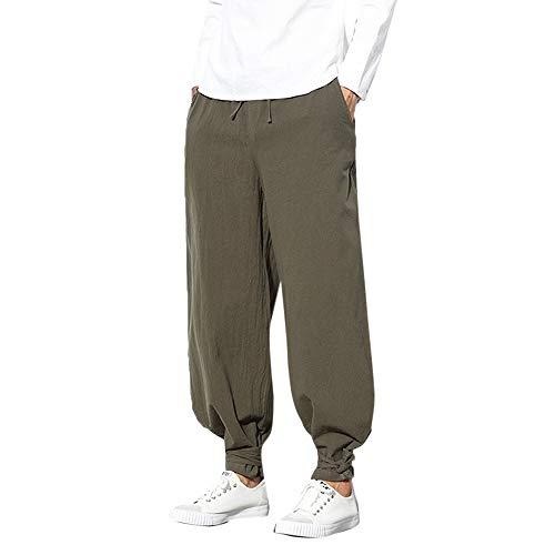 Creazrise Men's Drawstring Beach Pant Summer Cotton Linen Loose Yoga Jogger Pants (Gray,L)