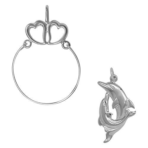 - Raposa Elegance Sterling Silver Double Dolphin Charm on a Hearts Charm Holder