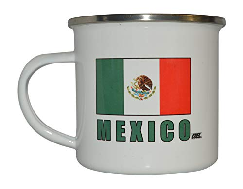 Mexico Camp Mug Enamel Camping Coffee Cup Gift Mexican Flag MX Camping Gear