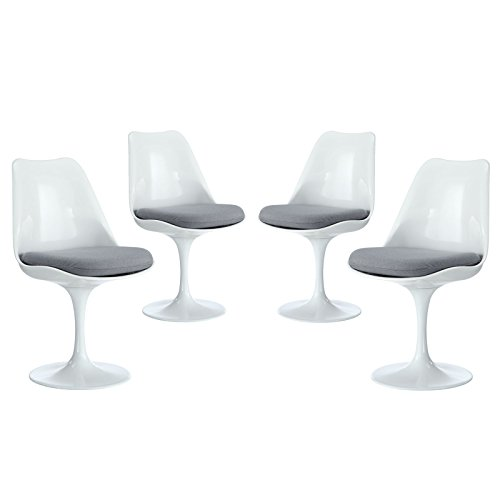 Modway Lippa Modern Dining Four Side Chair Set With Fabric Cushions in Gray by Modway (Image #8)