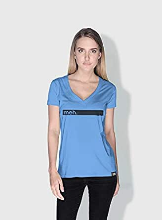 Creo Meh Funny T-Shirts For Women - M, Blue