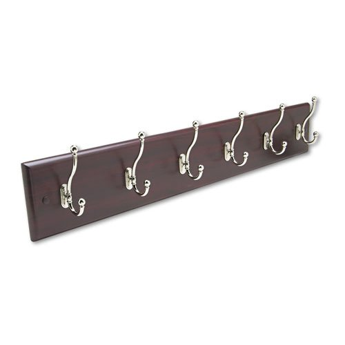 Safco Products 4217MH Wood Wall Rack, 6-Hook,  Mahogany/Silver  by Safco Products