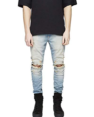 Morbido Strappati Moda Denim Semplicemente Stile Pantaloni Jeans In Vintage Elasticizzato Slim Fit Alsbild E Uomo Skinny wRqtBCxt7