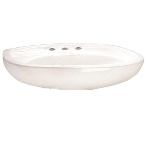 American Standard 0115.808.020 Colony 21-Inch Pedestal Sink Basin with 8-Inch Faucet Holes, White ()