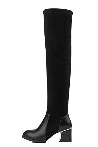 Allhqfashion Dames Ronde Dichte Neus High-top Kitten-hakken Effen Mix Materialen Laarzen Zwart