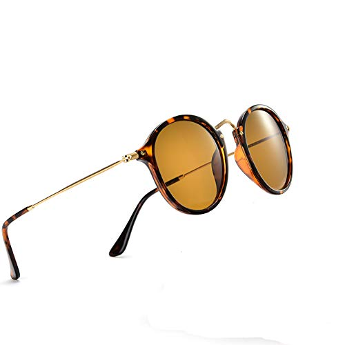 Classic retro fashion small round sunglasses with hd glass lenses (Tortoise Frame, Brown Eyeglass)