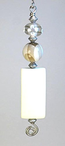 Tan Plaid, Blonde Rectangular Wood & Floral Glass Ceiling Fan Pull/Light Pull Chain