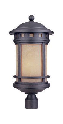 Oil Rubbed Bronze w/Amber 3 Light 11in. Cast Aluminum Post Lantern from The Sedona Collection ()
