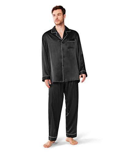 (SIORO Silky Pajamas for Mens Satin Pajama Sets Long Sleeve Button Down Sleepwear PJ's Soft Loungewear,Black L)
