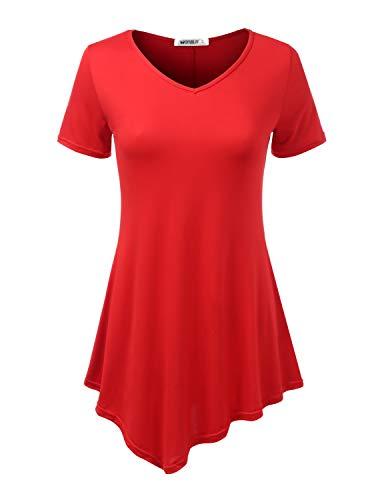 Doublju Womens Short Sleeve Asymmetrical Hem Tunic Shirt with Plus Sizes RED ()