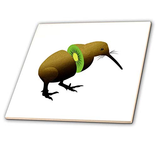 3dRose Russ Billington Designs - Funny Kiwi Fruit Design - 8 Inch Glass Tile (ct_291549_7) ()