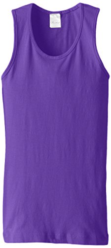 Ribbed Girls Top - Clementine Big Girls' Everyday Wide Strap Tank Top, Purple, 14/16/Large