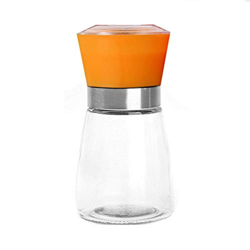 Pepper Mill Salt Grinder, Stainless Steel Surface Glass Body Pepper or Salt Mill with Adjustable Coarseness & Cleaning Brush (Orange Glass)