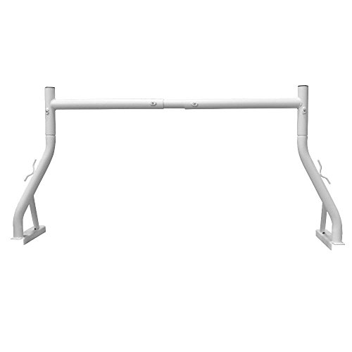 White 800LB Adjustable Fit 2 Bars Utility Ladder Truck Pickup Rack Kayak Contractor Lumber